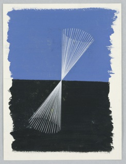 """Study for the background of a poster, """"Letter Mails by Air to East and South Africa"""". At center, rays of white lines fanning out from above and below from a central point, at center. Rays form an hourglass shape, oriented at a slight angle. Behind the white rays, the background is half blue (above) and half black (below)."""