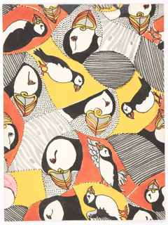 Drawing, Puffins