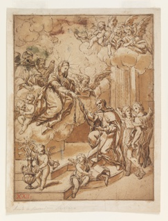 Figure of a saint kneeling on steps, receiving a rope from the Virgin Mary. Mary has descended in clouds, surrounded by cherubs, to pass on the rope. Angels and putti rejoice.