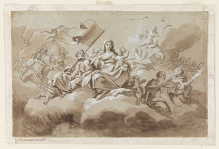 Horizontal rectangle. Sitting in clouds, surrounded by angels, Saint Joseph sits beside the Virgin Mary, bearing a standard. Mary holds the Christ Christ. Surrounding them are figures and cherubim seated on clouds. Verso: a study, roughly sketched in black crayon with white gouache, of the upper part of a man with outstretched arms shown in profile, turned toward right.