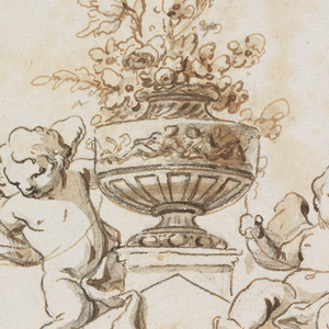 The rose stands upon a pedestal behind the top of a triangular moulding. The left putto kneels, the right one sits. They carry a rope which swings from the vase.