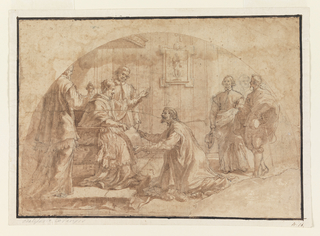 Interior, striped wall, framed picture hanging; a pope, seated on a low pedestal under a rectangular canopy, speaks to a kneeling visitor. The visitor is entreating him with a document, while two cardinals flanking the pope and two courtiers at some distance to the right look on. Graphite marks of initial drawing, including sketched head of third courtier, remain throughout.