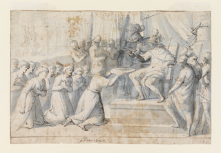 Turkish Ambassadors kneeling before Don Giovanni of Austria (seated on throne) to present him with a large metal plate. Verso: Faint red chalk sketch of a standing figure. Verso: faint red chalk sketch of a standing figure, seen from right, back.