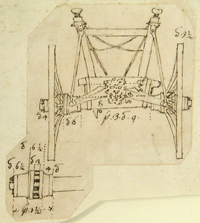 Elevation of the constuctive parts of the front part of a coach.  The elevation is on top, the plan below, at left.  The measurements of many parts are given.