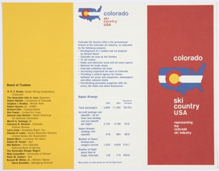 "Tri-fold, three-color brochure. Red front cover includes a logo for Ski Colorado: Ski Country USA. Consists of a blue United States map with a white horizontal strip through the center. On top of this, a red ""C"" with a yellow interior appears on the left. Printed in white, above: colorado; directly below: ski / country /  USA / representing / the / colorado / ski industry. Includes one yellow page with blue printed text. Other pages/sections are white with blue printed text. Graph of skiers per season also included."