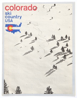 """One bifoliate leaf booklet for Colorado Ski Country USA. Front cover features a reproduction of a photograph of skiers on snow. The Ski Country USA logo is at upper left. Consists of a blue United States map with a blank horizontal strip through the center. On top of this, a red """"C"""" with a yellow interior appears on the left. Printed in red, above: colorado; in blue, directly below: ski / country / USA. Logo is repeated on back cover/verso, along with another black and white photograph of skiers and blue and red printed text. Map outlined in black and list of ski shops printed in black on interior pages."""