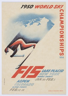 "Postcard for 1950 World Ski Championships, National Ski Association of America. Downhill skier at center left in red and black with blue and black lines extending upwards, suggesting speed. Image of snowy white and blue mountain behind. Printed in black, red, and blue along the top right and upper right edge: 1950 WORLD SKI CHAMPIONSHIPS U.S.A.; in red, blue, and grey, lower portion: FIS LAKE PLACID / NEW YORK / NORDIC EVENTS / JAN. 30–FEB. 5 / ASPEN / COLORADO / ALPINE EVENTS / FEB. 13–18. Verso has ""Post Card"" printed in block letters in the center, a vertical line down the center, and a place for a stamp on the right printed in black."