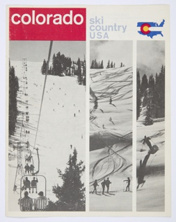"Colorado Ski Country USA bifoliate brochure. Black and white photographic reproductions of a mountainous landscape covered in snow, and with scattered trees, featured on recto and verso. Recto: Printed in white, inside a red rectangle, upper left corner: colorado; in blue, upper center: ski / country / USA. At upper right corner, Colorado Ski Country USA logo: a map of the United States, with a white strip across the center and blue regions above and below, and a red ""c"" with a yellow interior on the left. Verso: Printed in red, left center: colorado / ski / country / USA; in red and blue, upper right: manual of / colorado / skiing and / winter sports; in red, lower right corner: season 1963–1964. Colorado Ski Country USA logo appears at center left. Interior features a map of Colorado on the left and a list of ski shops and sporting goods stores on the right, both printed in blue against a white background."