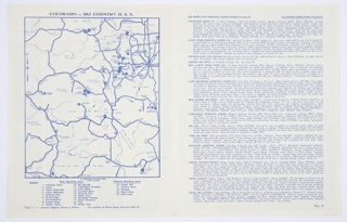 """Colorado Ski Country USA bifoliate brochure. Black and white photographic reproductions of a mountainous landscape covered in snow, and with scattered trees, featured on recto and verso. Recto: Printed in white, inside a red rectangle, upper left corner: colorado; in blue, upper center: ski / country / USA. At upper right corner, Colorado Ski Country USA logo: a map of the United States, with a white strip across the center and blue regions above and below, and a red """"c"""" with a yellow interior on the left. Verso: Printed in red, left center: colorado / ski / country / USA; in red and blue, upper right: manual of / colorado / skiing and / winter sports; in red, lower right corner: season 1963–1964. Colorado Ski Country USA logo appears at center left. Interior features a map of Colorado on the left and a list of ski shops and sporting goods stores on the right, both printed in blue against a white background."""