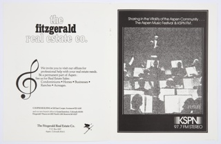 """The Aspen Music Festival program booklet for 1976. Front cover features a reproduction of the Herbert Bayer silkscreen, """"Two Curves from Colored Progressions on Red"""" (1975), consiting of colorful abstract geometric forms. Printed in black, lower left: The / Aspen / Music / Festival / 1976. Verso: Black printed text at lower left. Interior includes black and white advertisements for The Fitzgerald Real Estate Company and KSPN FM."""