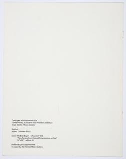 Booklet, The Aspen Music Festival 1976