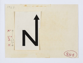 """Northern Natural Gas graphic identity sample mounted to paper with handwritten notations, including measurements and date. Graphic logo is a black capital letter """"N,"""" with an arrow upwards extending from the upper right portion of the letter."""