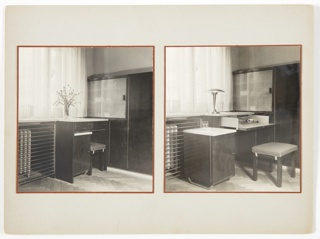 Two photographs of interiors are mounted next to one another. Both contain a piece of furniture at center with a drawer and a cabinet underneath that can be removed. In the photograph on the right, the cabinet is removed, the drawer is pulled out, and a bench is pulled out, contrasting with the photograph at left, in which the bench is tucked under, the drawer is closed, and the detachable cabinet is in place. The photograph at right also includes a lamp on top of the piece of furniture, contrasting with the vase of flowers on top of the furniture in the photograph at left.