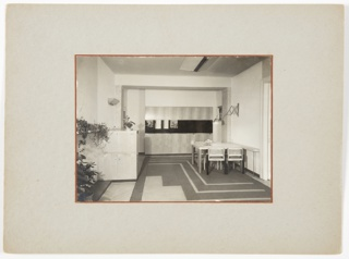 Apartment interior with dining table and chairs at right, with lamp above. Plants and cabinets at left, and geometric tiled floor.