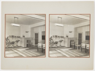 Two photographs with red borders, each showing the same area of an apartment dining area interior. Left image has chairs stacked neatly beenath cabinetry, while right shows chairs arranged for use.