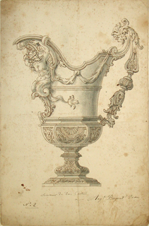Shown in profile; the handle is at right.  It consists of baluster forms and masks.  A satyr with fishtail legs is below the spout.  The body divided in three sections.  Drapery festoons are in the upper one, the tails in the central one.  The bottom shows three panels, two of them with medallions.  Elaborated foot.