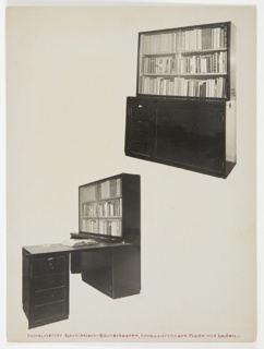 Two cut-out photographs of a combination bookshelf-writing desk with a pull out tabletop and drawers
