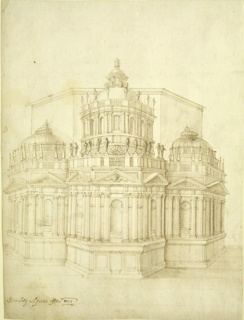 Design for proposed additions to an octagonal church. The structures project from the choir of a church, the choir being three sides of an octagon in the plan. The plans of each structure are halves of hexagons.  The elevations show sockles, orders of imbedded Doric columns containing niches and being triangular pediments, balustrades from which obelisks rise in the lateral structure, upon which statues stand, in the center.  Segments of lanterns and domes form the top parts, the central one being much higher and more elaborate than the lateral ones.