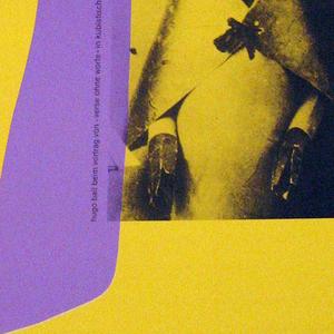 "On yellow background, along right edge two black-and-white photographs of men in paper-and-cardboard costumes, a purple anthropomorphized octopus shape layered on top. Inscription: in white, ""kunsthaus zurich"", followed by black text: "" 5. juli-7.september 1986 / dishtungen / illustrierte bucher / zeichnungen / collagen / reliefs / skulpturen"", then mid-page break to large-type ""hans arp / hugo ball"", then small type as before: ""dadaist, / philosoph und / dichter"", and finally at bottom: ""offnungszeiten: / montag 14-17 uhr / dienstag bis freitag 10-21 uhr / samstag und sonntag 10-17 uhr / freitag, 1. august 1986 geschlossen""."