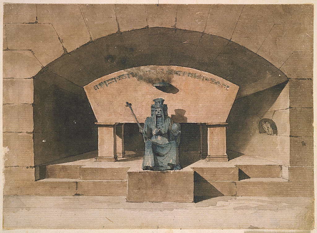 Architectural fantasy.  Sarcophagus stands in a niche which contains on right wall an inset occupied by an owl. The figure of Death sits before the tomb bearing royal devices.