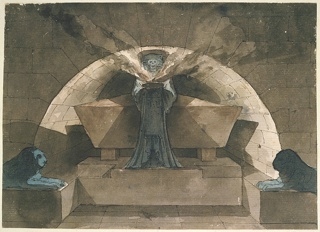 Architectural fantasy.  A drawing of a tomb with a sarcophagus in a rounded-arch niche.  A robed figure of Death stands before the sarcophagus holding a smoking lamp. The tomb is flanked by 2 recumbent lions carved in stone.