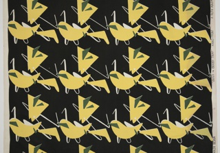 Yellow and green polygonal shapes superimposed over white wiry lines on a black ground.