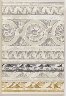 Collection of border and matching sidewall designs, includes drapery swags, patriotic papers, and architectural wall panels.