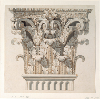Design for a Corinthian capital.  The capital is depicted with a partially depicted fluted column or pilaster.