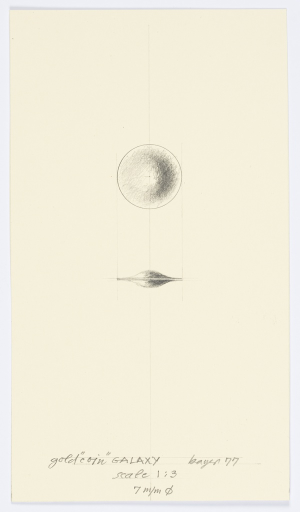 Small drawing with gradated sphere at top, two bell curve forms with gradation below, grid lines in graphite underneath.