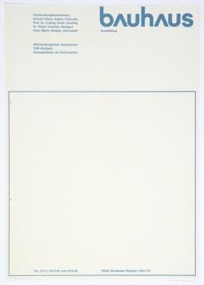 Letterhead, Bauhaus Ausstellung