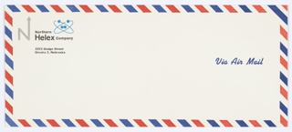 "Northern Helex Company white Air Mail envelope. Features the company logo, the capital letter ""N,"" with an arrow upwards extending from the upper right portion of the letter, in grey at upper left. Printed in black, directly to the right of the logo: Northern / Helex Company / 2223 Dodge Street / Omaha 2, Nebraska. A blue atomic icon appears just to the right of the word ""Northern.""