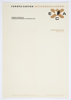 Europa Carton Aktiengesellschaft stationery, two-color print in black and gold. ECA graphic identity at upper right corner, printed text at top and bottom. Some brown spotting. Related to 7102.644.2016.