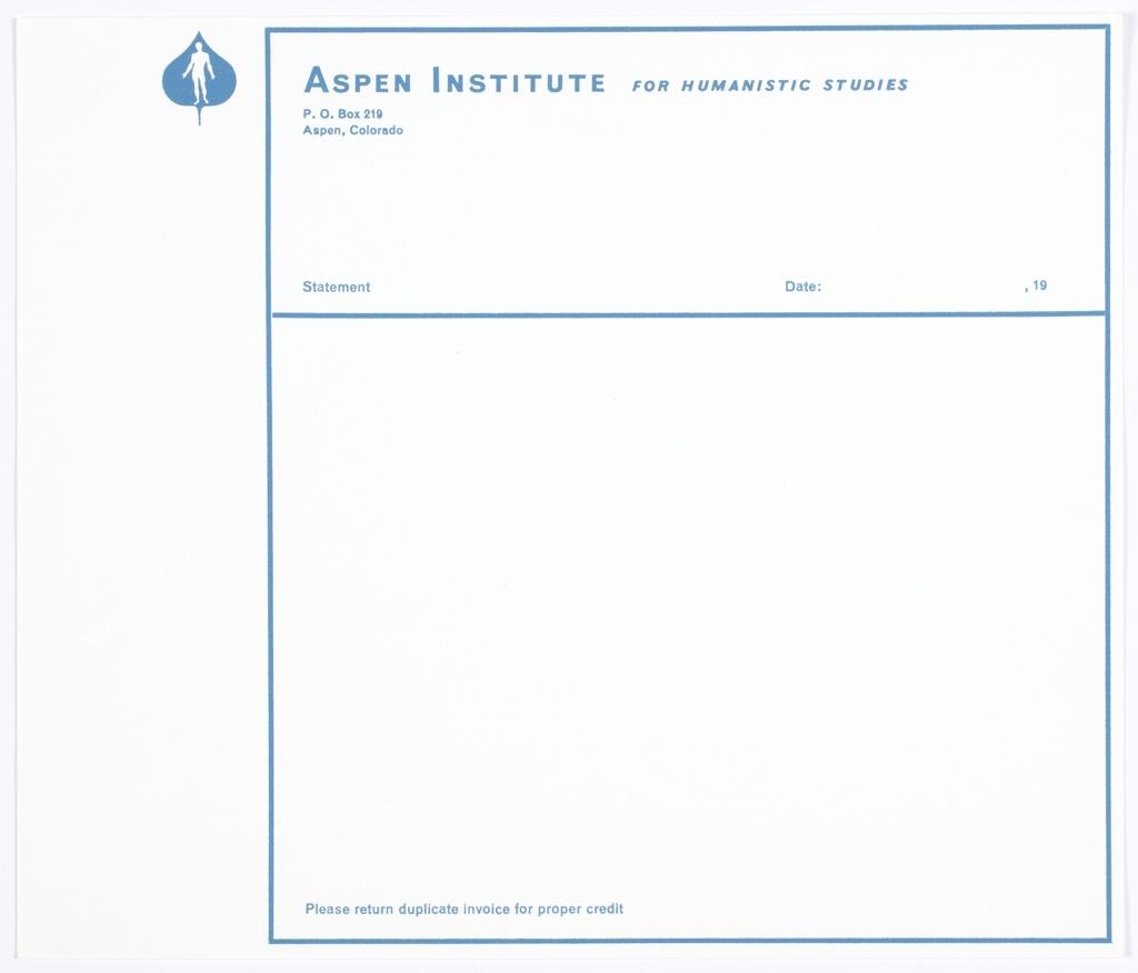 Print, Aspen Institute for Humanistic Studies Invoice