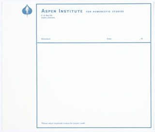 Print, Aspen Institute for Humanistic Studies Invoice