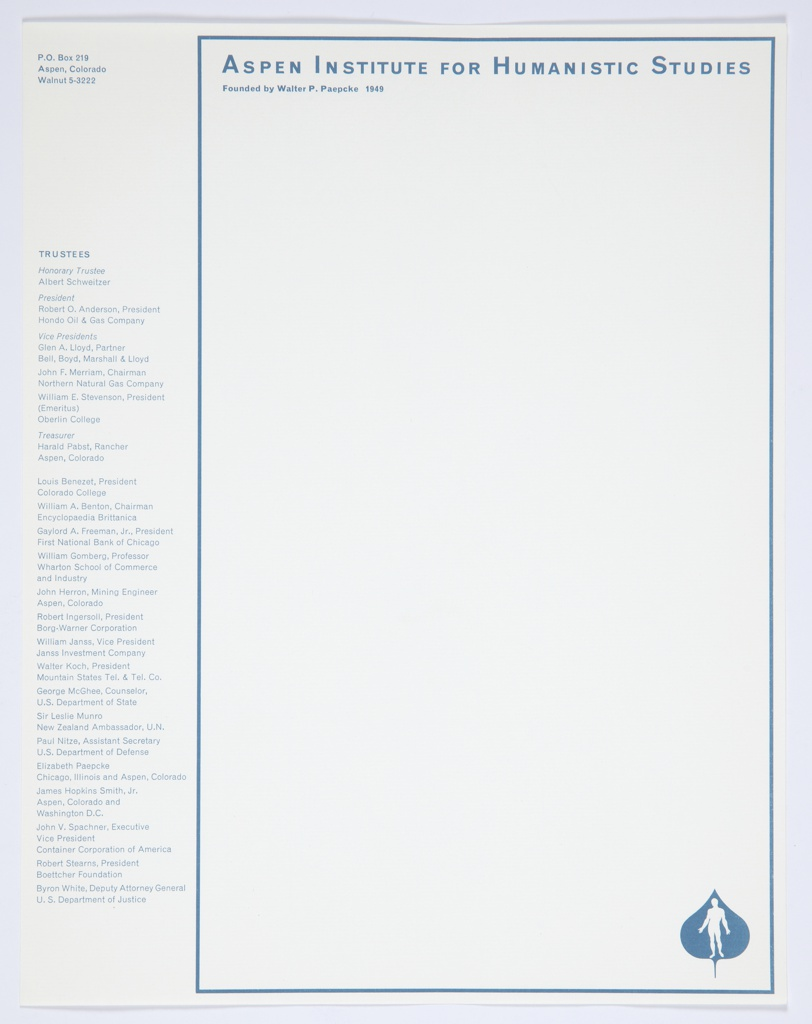 Aspen Institute for Humanistic Studies letterhead printed in blue on white paper, including list of trustees, reworked from Bayer's original letterhead design in green. A blue rectangular border frames the page, excluding the white vertical margin at left containing an address at top and a list of trustees below printed in blue. Printed within the border, along the top: ASPEN INSTITUTE FOR HUMANISTIC STUDIES / Founded by Walter P. Paepcke 1949; at lower right: Aspen Institute logo, a blue Aspen leaf with a white male figure inside.
