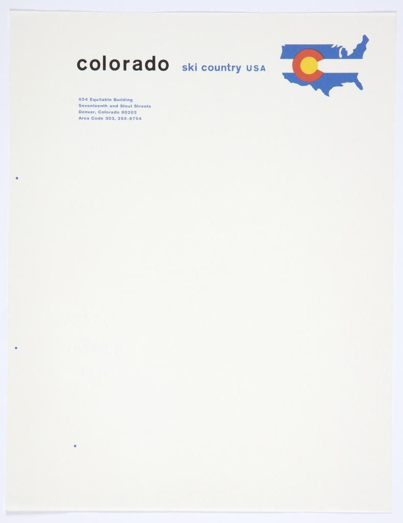 Stationery, Colorado Ski Country USA