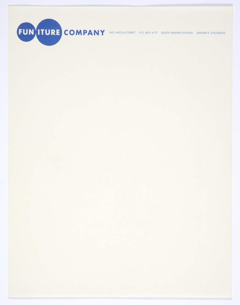 "Funiture Company letterhead with graphic identity at upper left, two blue circles with ""FUN"" printed in white within smaller circle at left, and ""ITURE"" printed in white within adjacent circle at right. At upper right, printed in blue: 450 LINCOLN STREET P. O. BOX 4177 SOUTH DENVER STATION DENVER 9 COLORADO; related to 7102.79.2016, 7102.720.2016."