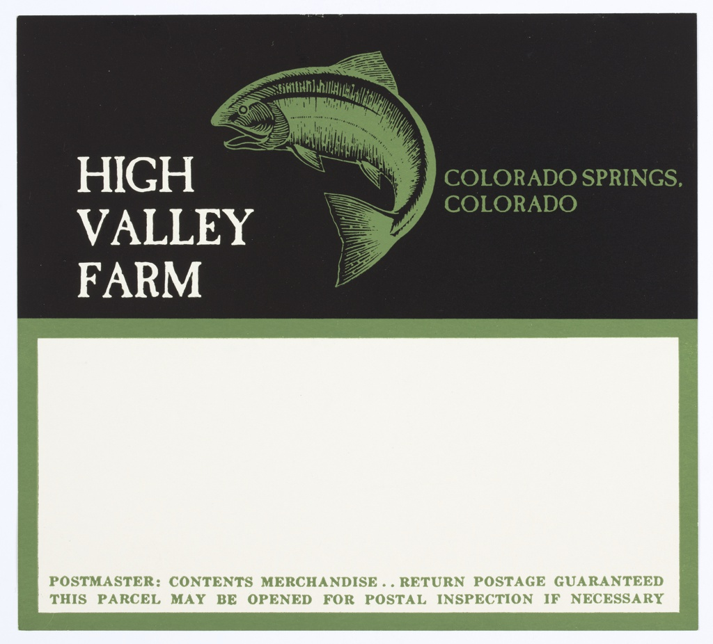 Packing Label, High Valley Farm