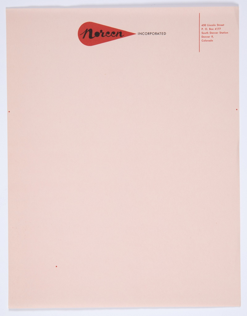 "Noreen, Incorporated letterhead with graphic identity in red and black at upper center against a pink background. The Noreen logo—the word ""Noreen"" in black cursive text inside a red teardrop—appears at upper center, with ""INCORPORATED"" printed in black directly to the right. Printed in red, upper right: 450 Lincoln Street / P. O. Box 4177 / South Denver Station / Denver 9, / Colorado."