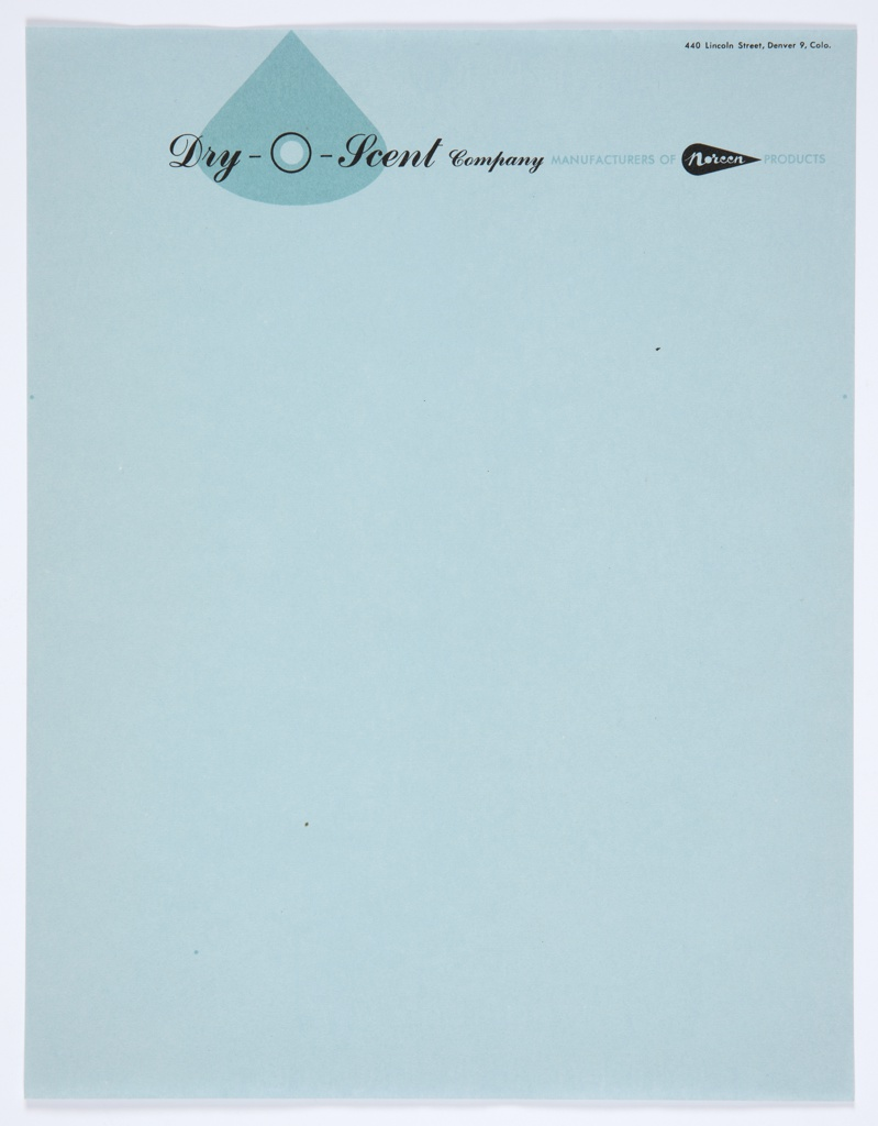 "Dry-O-Scent Company, Manufacturers of Noreen Products letterhead. ""Dry-O-Scent"" is printed in black cursive text against a blue teardrop shape, with ""Company"" in black cursive text on the right. The Noreen logo—the word ""Noreen"" in white cursive text inside a black teardrop—appears at upper right, with the words ""MANUFACTURERS OF"" on the left and ""PRODUCTS"" at right, printed in blue. Printed in black, upper right: 440 Lincoln Street, Denver 9, Colo."