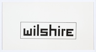 "Logo design with ""wilshire"" printed in black angular text, surrounded by a black rectilinear border."