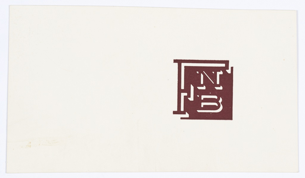 """Logo design for FNB printed in brown at right. Consists of a brown square with letters inside; a large """"F"""" is at left and an """"N"""" over a """"B"""" is to the right. Verso: Black printed text fragment."""