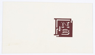 "Logo design for FNB printed in brown at right. Consists of a brown square with letters inside; a large ""F"" is at left and an ""N"" over a ""B"" is to the right. Verso: Black printed text fragment."