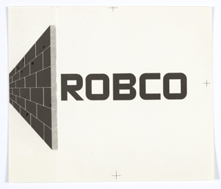 Robco logo featuring company name at right in all capital letters and perspective view of brick wall at left, printed in black.