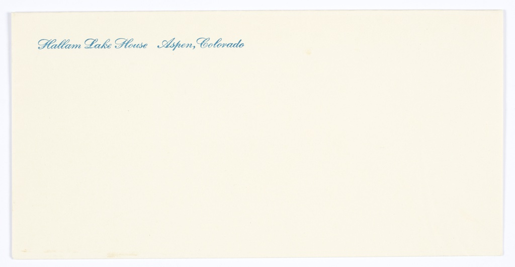 Hallam Lake House envelope. Printed in blue cursive text, at upper left: Hallam Lake House  Aspen, Colorado.