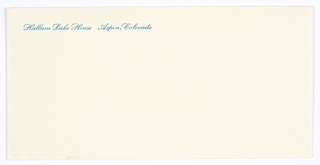 Envelope, Hallam Lake House, Aspen, Colorado