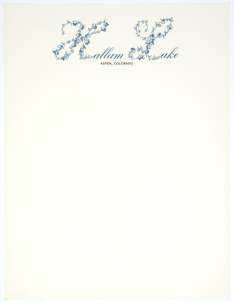 """Hallam Lake letterhead. At top center, printed in blue cursive text: Hallam Lake, with the """"H"""" and the """"L"""" at a much larger size and made up of blue leaves. In small printed black text below: ASPEN, COLORADO."""