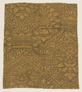 Pineapple or artichoke pattern in a heavy ogival framing device, printed in black on a yellow-gold ground.
