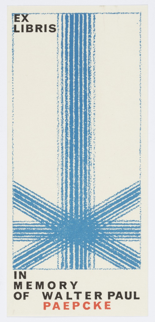 Vertical rectangle with abstract blue design within blue rectlinear border on white background. Printed black text, at top: EX / LIBRIS; at bottom: IN / MEMORY / OF WALTER PAUL; in red: PAEPCKE; same design as 7102.850.2016.