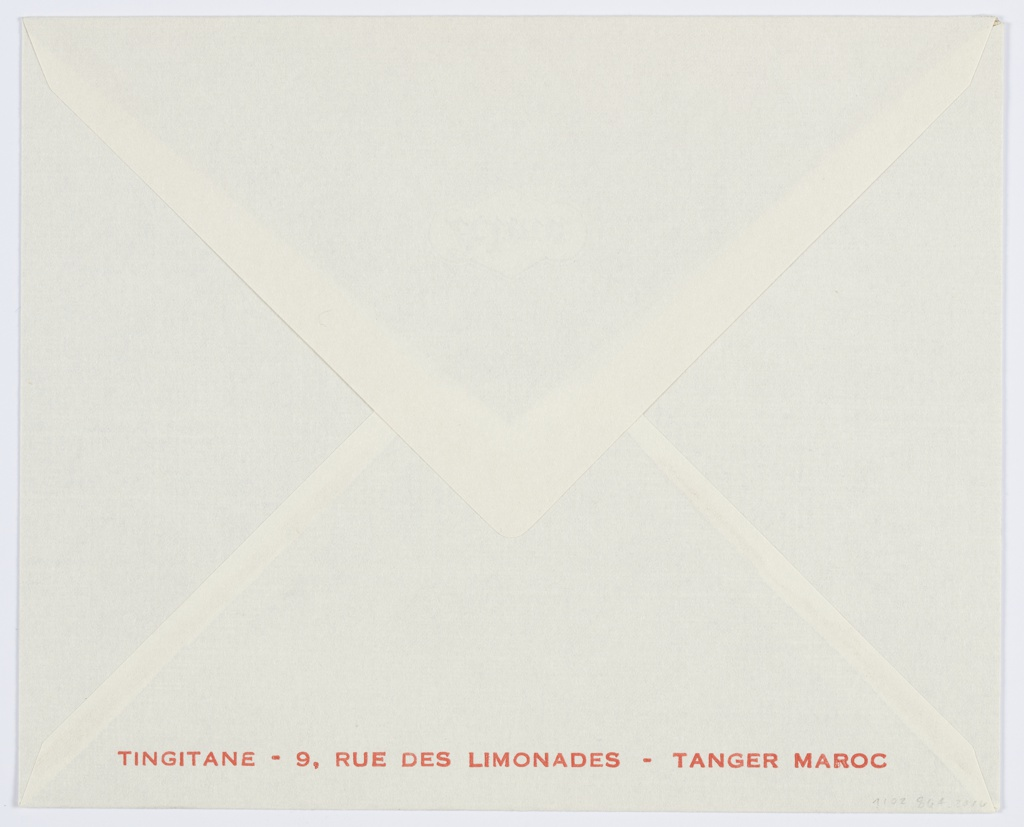 Envelope for Tingitane featuring orange printed text at bottom: TINGITANE - 9, RUE DES LIMONADES - TANGER MAROC